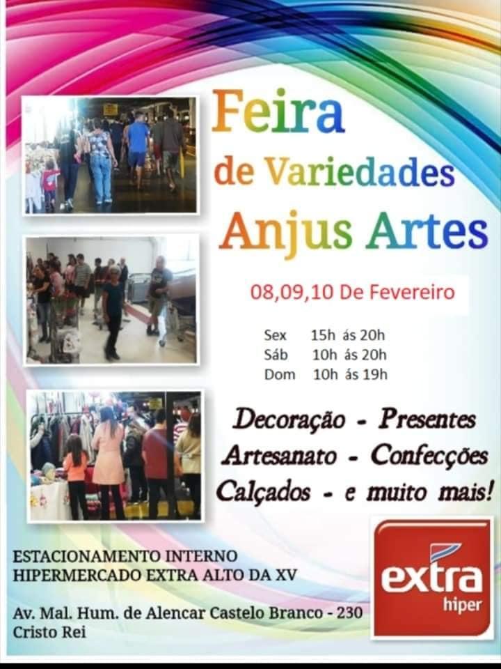 78a20df2f Nos dia 8, 9 e 10 desse mês acontece a primeira edição da Feira de  variedades Anjus e artes, que será no estacionamento interno do  Hipermercado Extra Alto ...